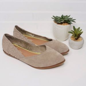 Toms Suede Jutti Pointed Flats Taupe